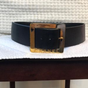 Chanel Black Belt with Gold Buckle Size 26